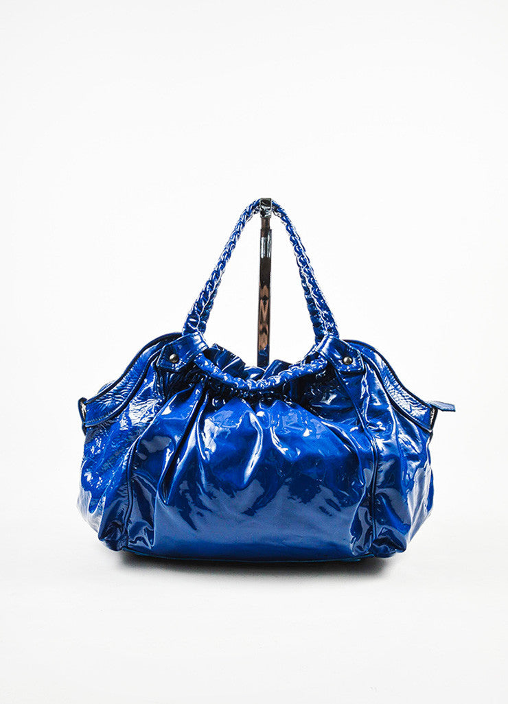 "Christian Louboutin Blue Patent Leather Ruched ""Telescope"" Hobo Bag Frontview"