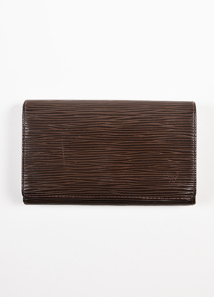 "Louis Vuitton Chocolate Brown Epi Leather Snap ""Porte Tresor"" Wallet Frontview"