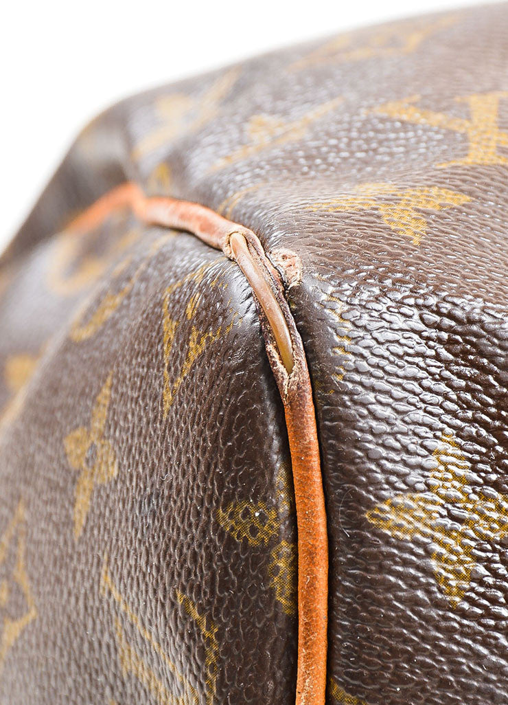 Brown Louis Vuitton Monogram Canvas Speedy 30cm Duffel Bag Detail