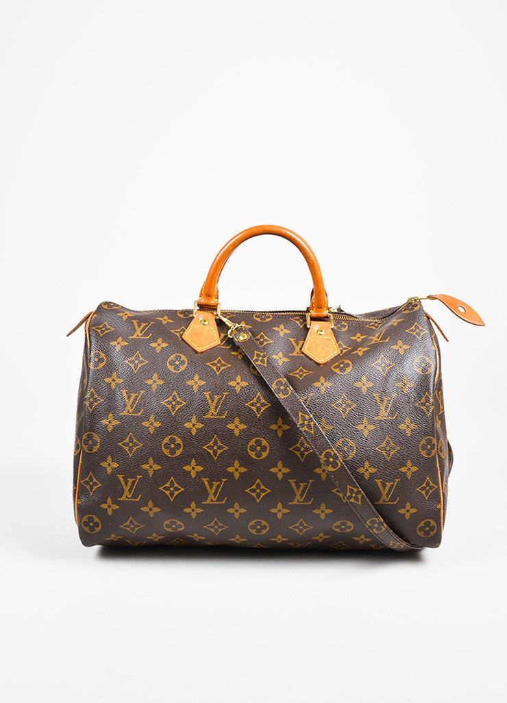 "Louis Vuitton Brown and Tan Coated Canvas Leather Monogram ""Speedy 35"" Bag Frontview"