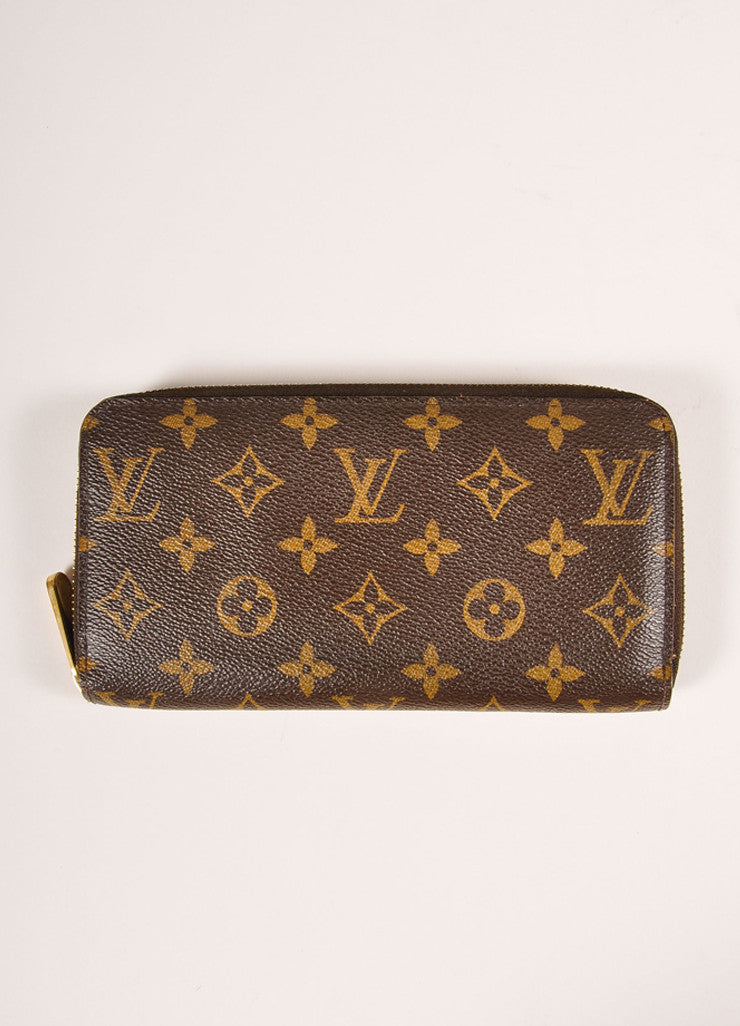 Louis Vuitton Brown and Tan Coated Canvas Monogram Rectangular Zip Wallet Frontview