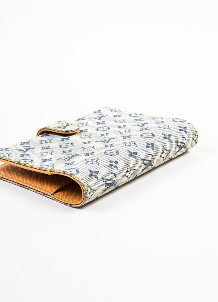 "Louis Vuitton Grey and Blue Canvas Monogram ""Mini Lin Small Agenda"" Cover Sideview"