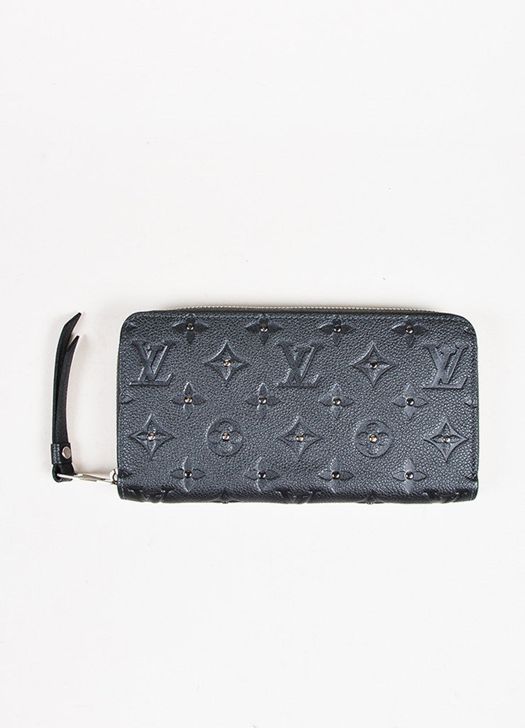 "Louis Vuitton Grey Monogram Empreinte Leather Studded Monogram ""Zippy"" Wallet Frontview"