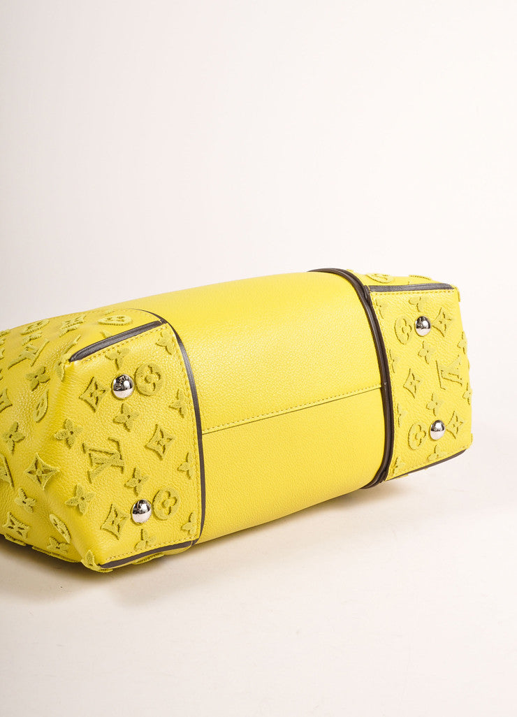 "Louis Vuitton NWT $4600 Yellow ""Pistache"" Tuffetage Parnasse Leather ""W"" PM Bag Bottom View"