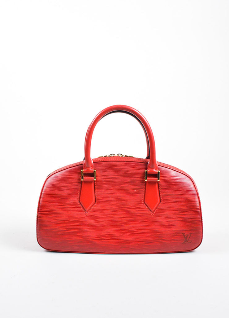 "Louis Vuitton Red Epi Leather ""Jasmine"" East West Handbag Frontview"