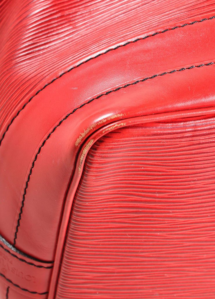 "Louis Vuitton Red Epi Leather ""Noe"" Bucket Bag Detail"