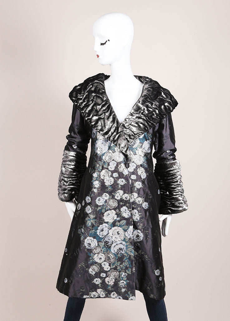 Luisa Beccaria Grey, Silver, and White Floral Embroidered Textured Trim Coat Frontview