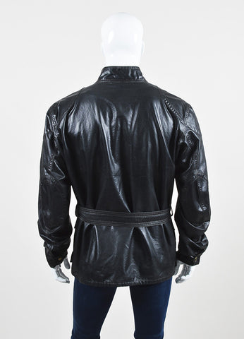 "Men's Belstaff Black Brown Coated Belted ""Sammy Miller"" Jacket Back"