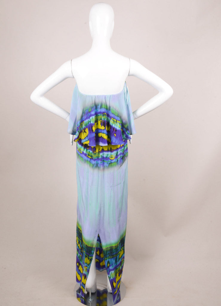 MSGM New With Tags Purple and Yellow Silk Tie Dye Print Ruffle Maxi Dress Backview