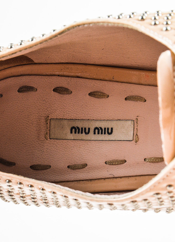 Beige and Silver Miu Miu Studded Leather Oxfords Brand