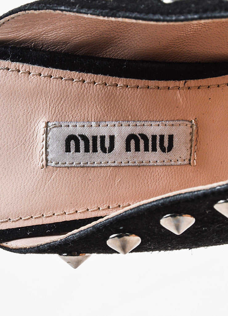 Miu Miu Black and Silver Toned Suede Studded Peep Toe Heeled Mules Brand