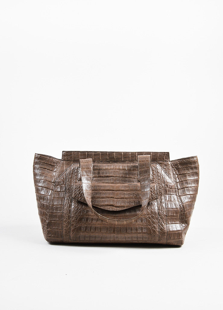 """Nut"" Taupe Nancy Gonzalez Crocodile Leather East West Tote Bag Front"