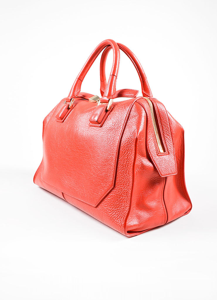 Red Leather Narciso Rodriguez Medium Bowler Tote Bag Sideview