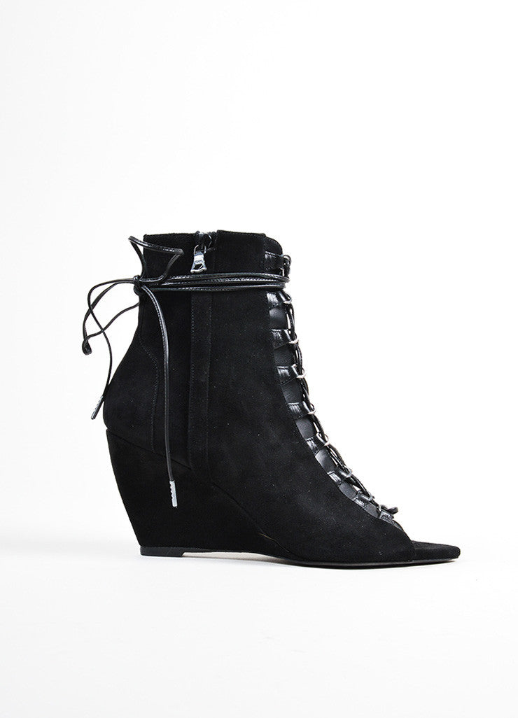 "Black Narciso Rodriguez Suede Lace Up Peep Toe ""Deva"" Wedge Boots Sideview"