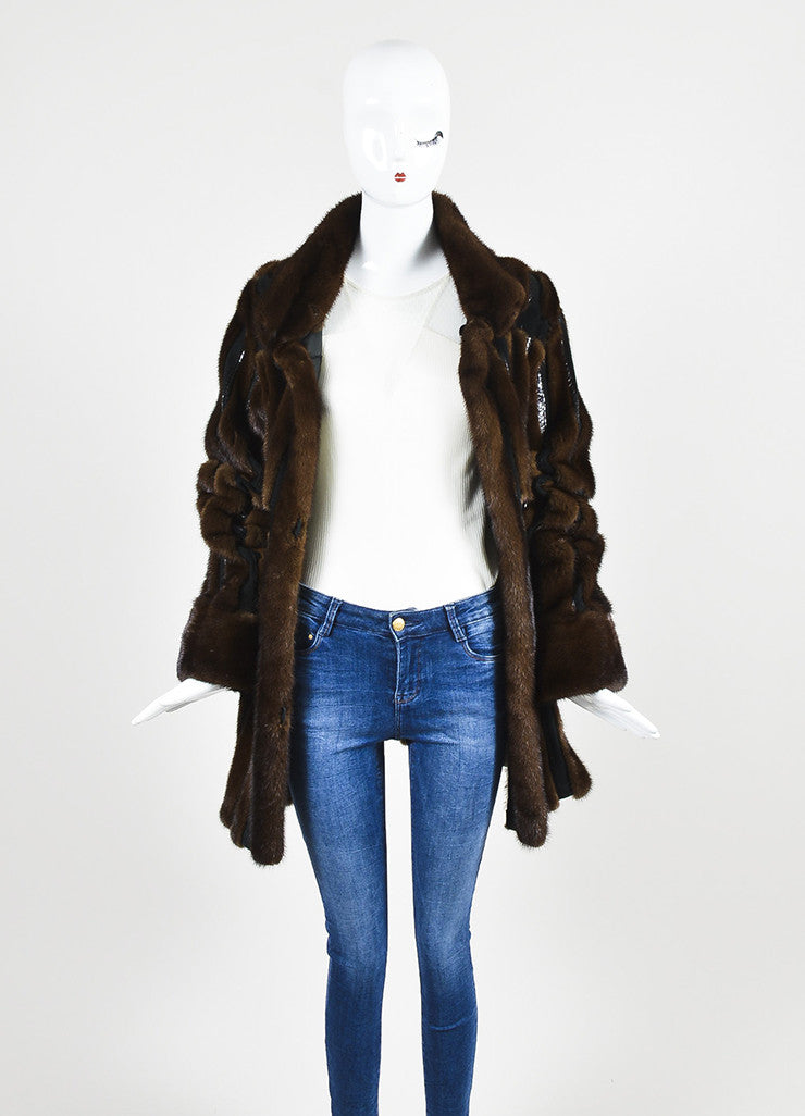 Neiman Marcus Brown and Black Mink Fur and Suede Snakeskin Trim Coat Frontview