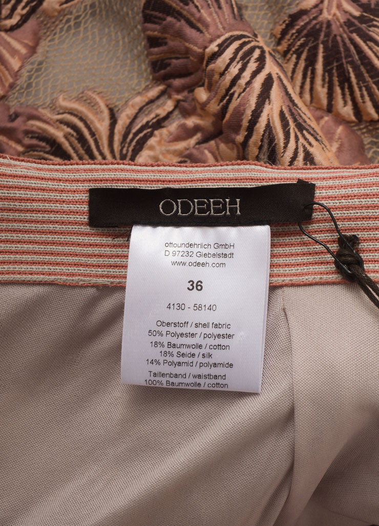 Odeeh New With Tags Peach and Taupe Cotton and Silk Leaf Jacquard Short Bell Skirt Brand