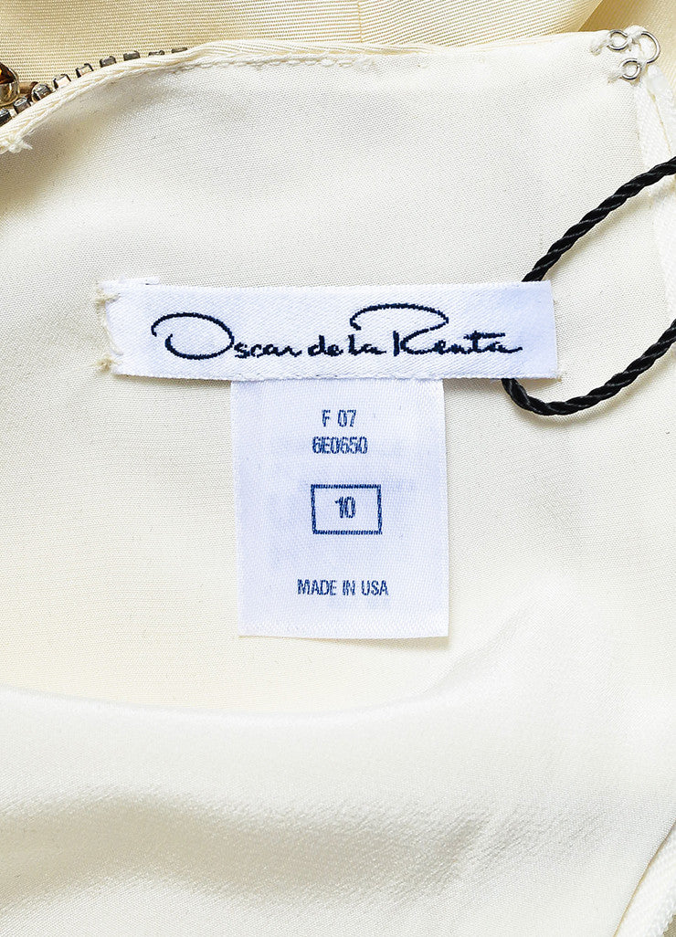 Oscar de la Renta Cream Silk Rhinestone Bead Embellished Sleeveless Sheath Dress Brand