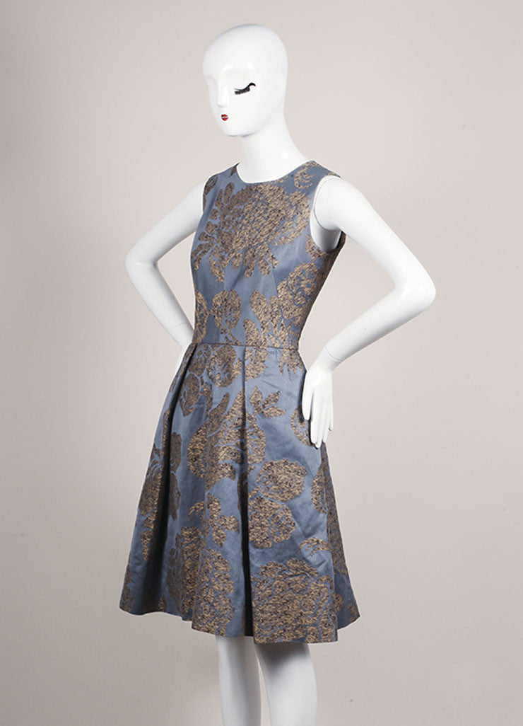 Oscar de la Renta Grey, Blue, and Tan Cotton Embroidered Sleeveless A-Line Dress Sideview