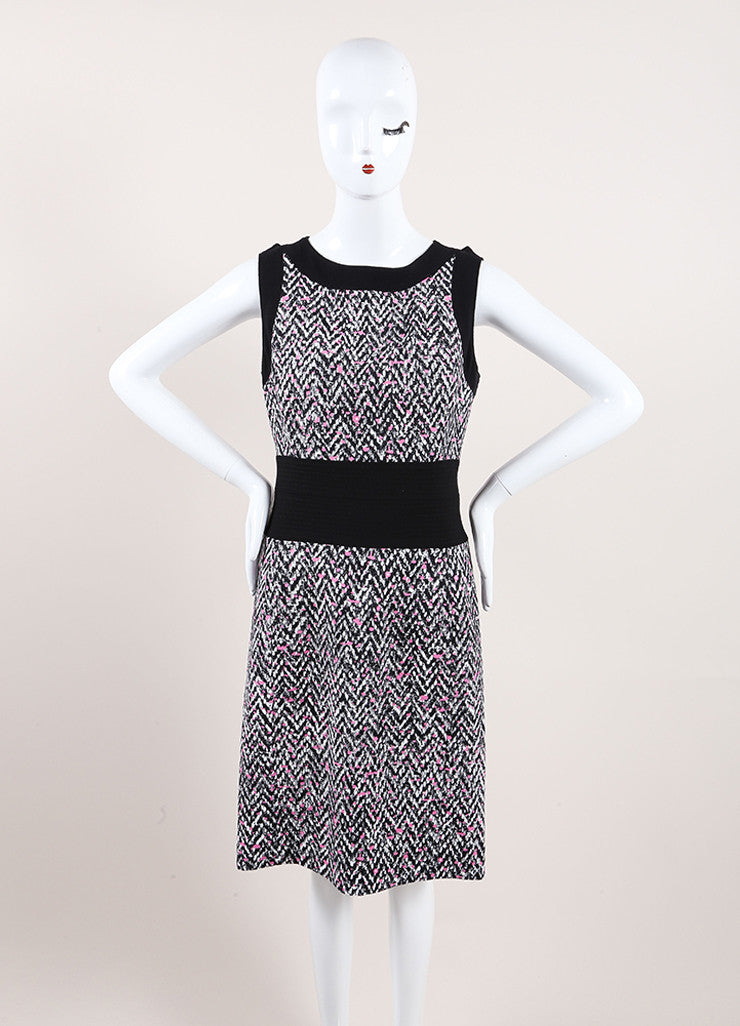 Oscar de la Renta New With Tags Black, White, and Pink Chevron Splatter Print Dress Frontview