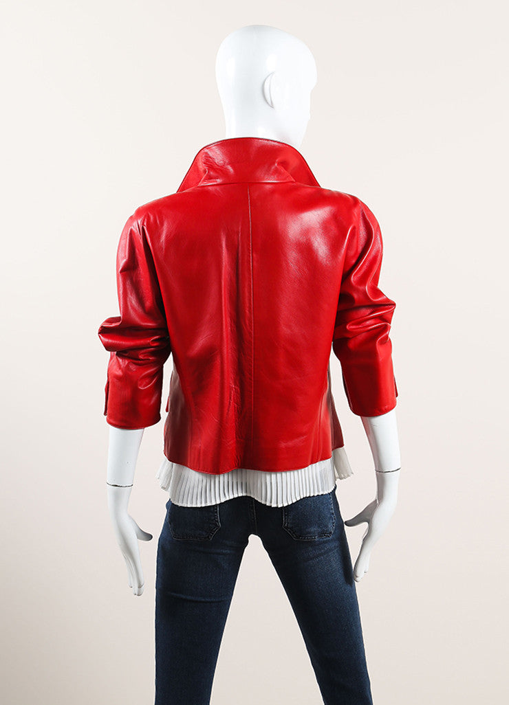 Oscar de la Renta Red Leather Button Up Crop Sleeve Jacket Backview