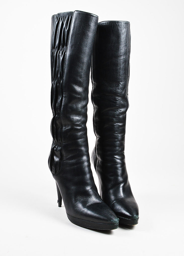 Prada Black Leather Ruched Panel Pointed Toe Cone Heel Boots Frontview