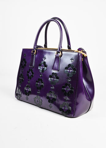 "Prada Purple Black Leather Floral Applique ""Spazzolato Bauletto"" Tote Bag angle"