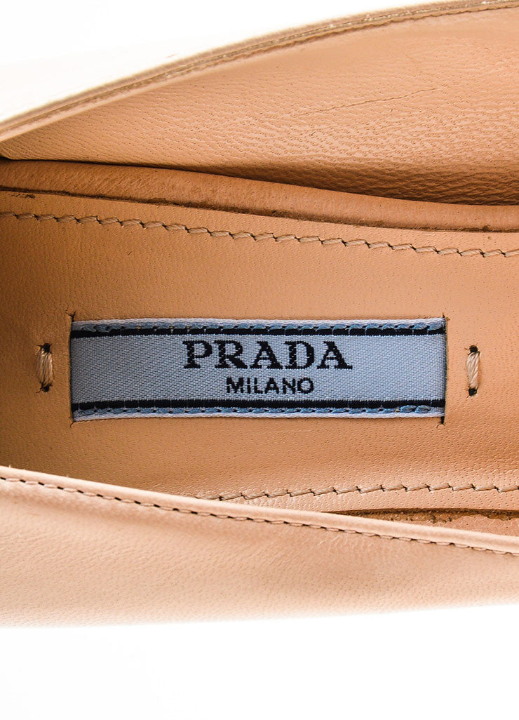 Prada Beige Nude and Pale Gold Toned Metallic Leather Peep Toe Platform Pumps Brand