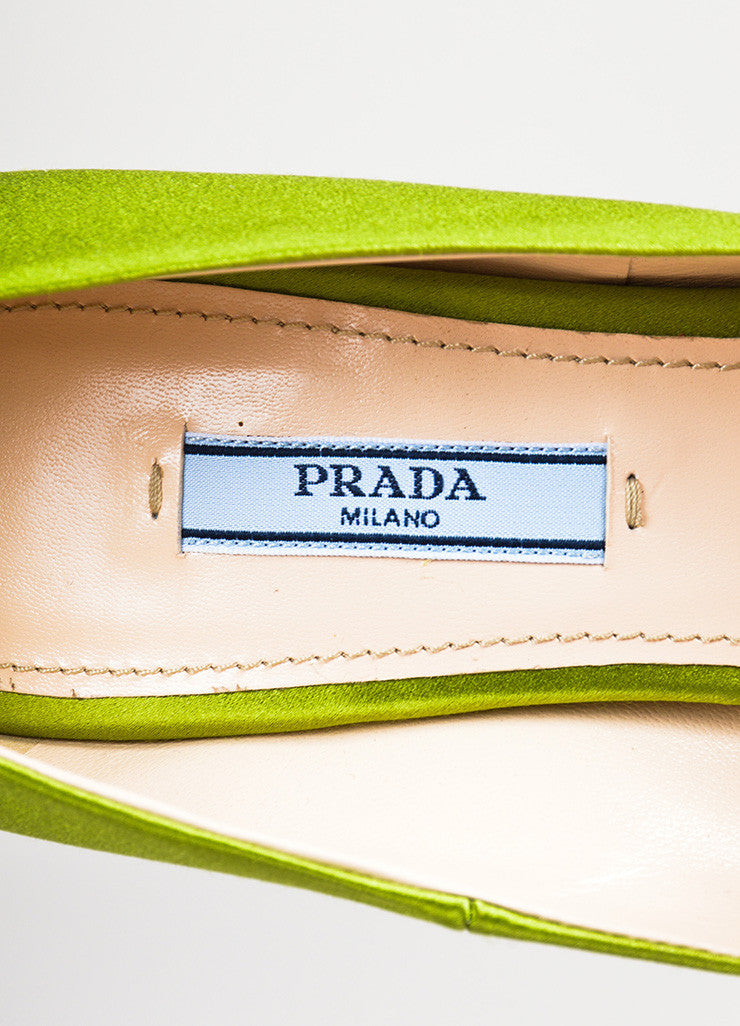 Prada Green Satin Pointed Toe Pumps Brand