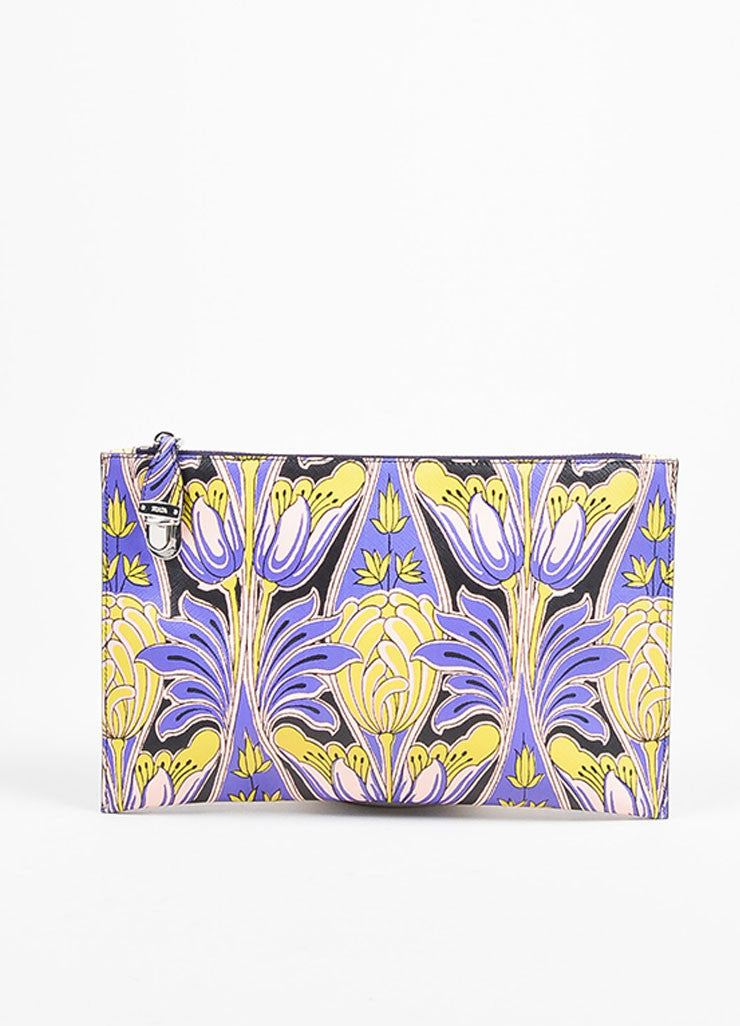 Prada Purple, Pink, and Green Saffiano Leather Floral Print Hand Strap Clutch Bag Frontview