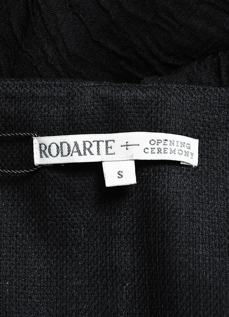 Rodarte x Opening Ceremony Black Cotton and Linen Draped Bustier Dress Brand