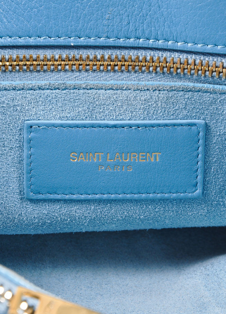 "Saint Laurent Light Blue Leather ""Small Sac du Jour"" Satchel Handbag Brand 2"