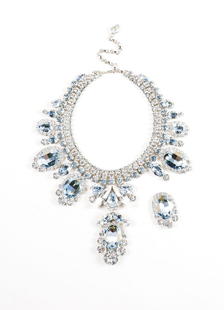 Silver Toned and Blue Thorin & Co. Glass Rhinestone Statement Bib Necklace Frontview 2