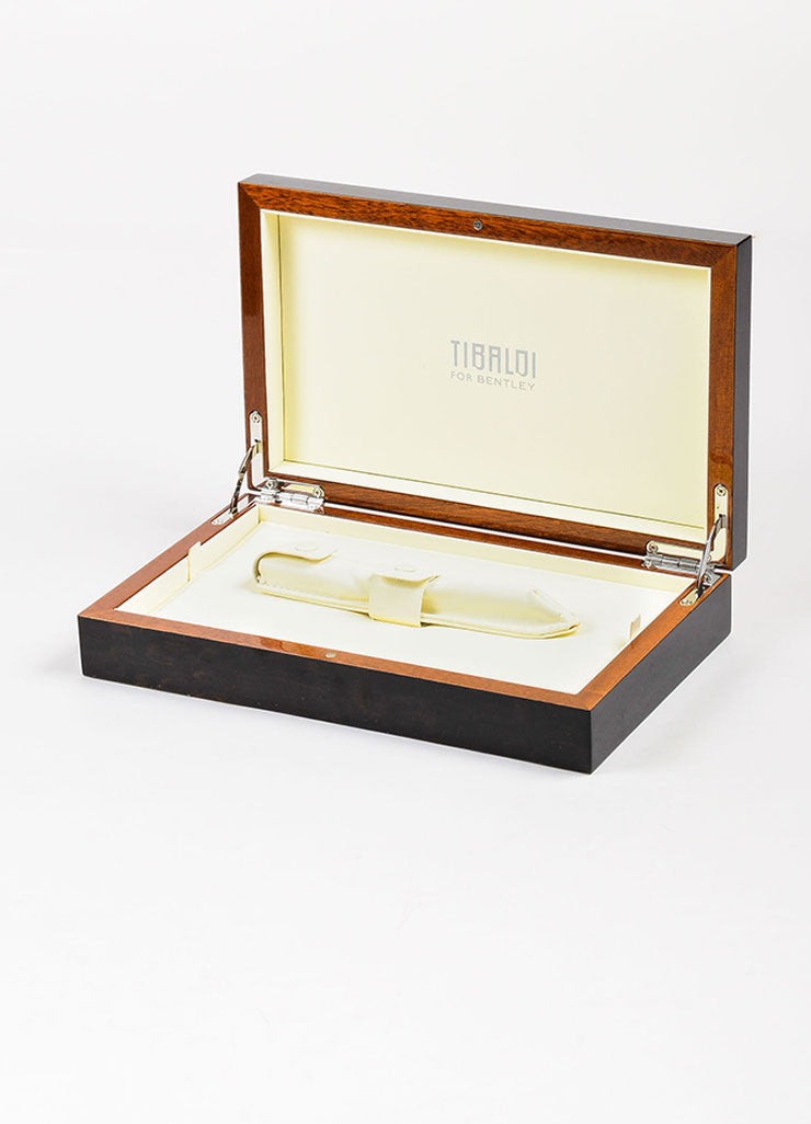 "Tibaldi x Bentley Brown Sterling Silver and 18K White Gold ""Mulsanne"" Fountain Pen Box"