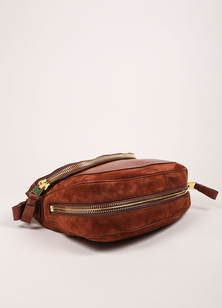 "Brown Suede Grain Leather Zipper ""Jennifer"" Cross Body Bag"