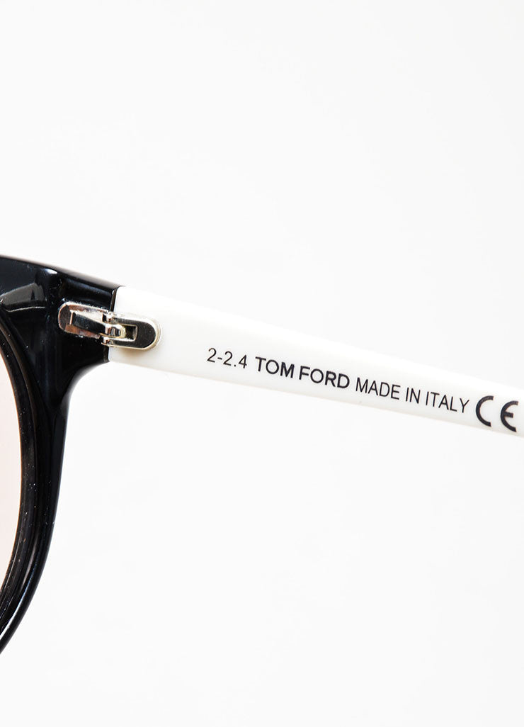 "Black and Cream Tom Ford Interchangeable ""Agatha"" Oval Sunglasses Brand"