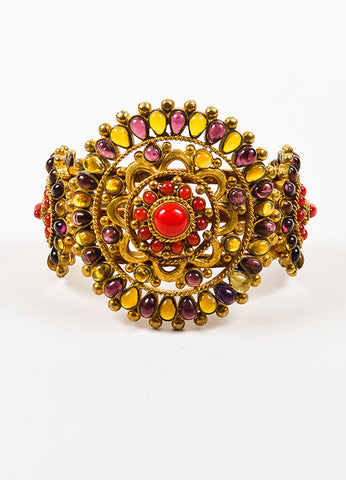 Chanel Gold Toned, Red, and Purple Gripoix Glass Medallion Cuff Bracelet Frontview