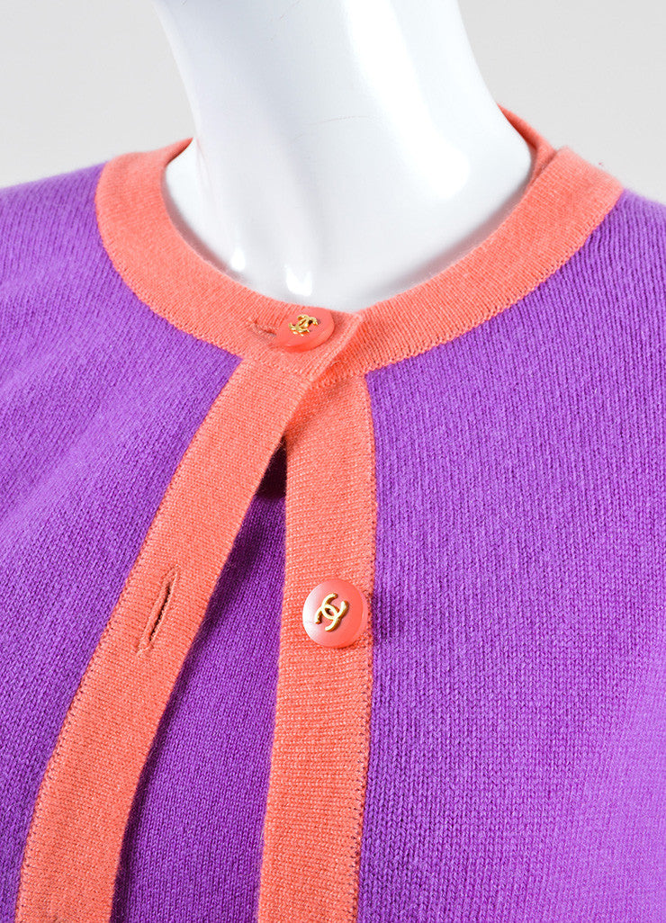 Chanel Purple and Coral Cashmere Two Piece Sweater Set Detail