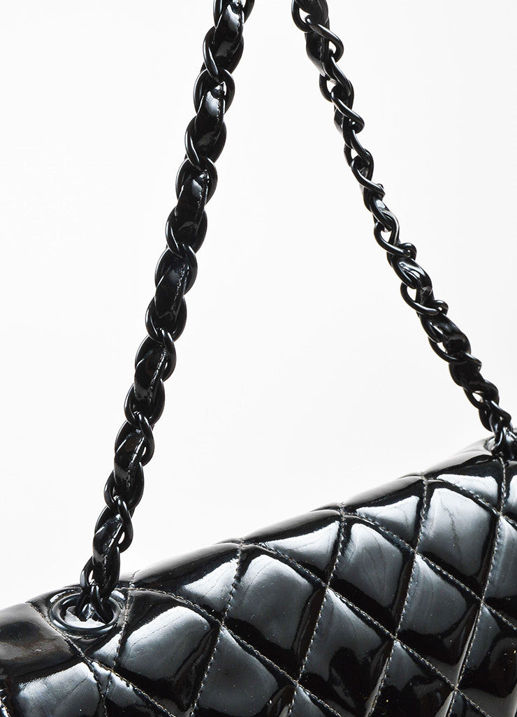"Black Chanel Quilted Patent Leather ""Diana"" Shoulder Bag Detail 3"