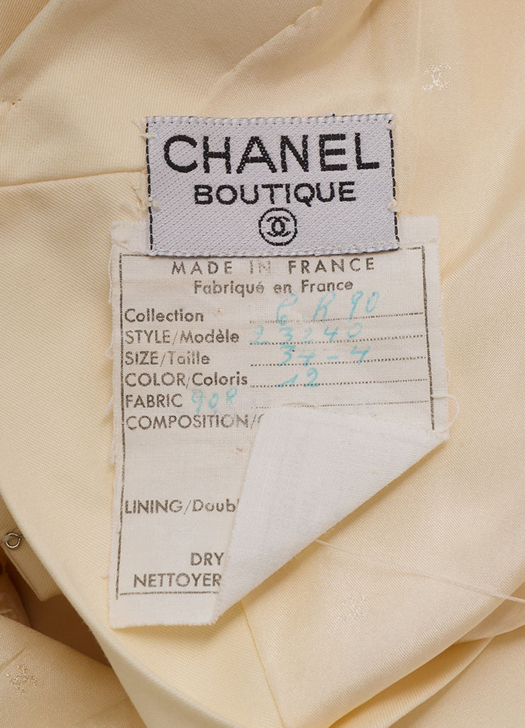 Chanel Cream Cotton Clover Button Short Sleeve Wrap Dress Brand