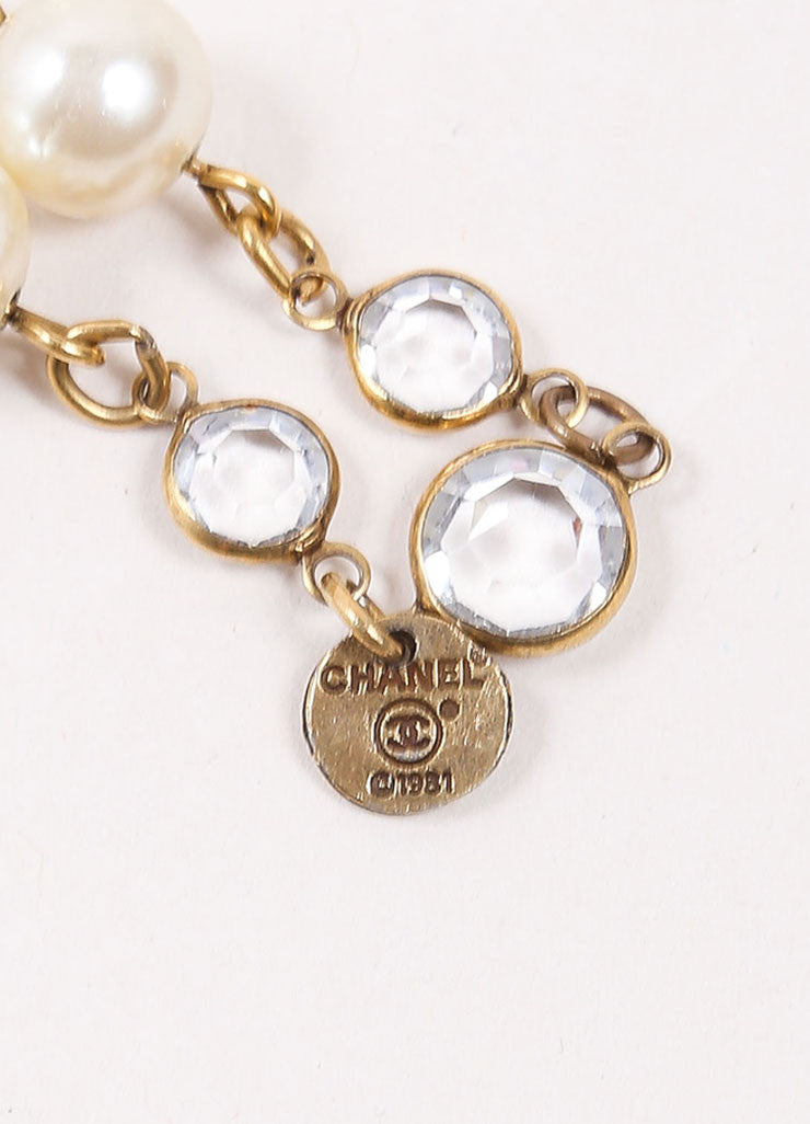 Chanel God Toned, Cream, and Clear Stone Faux Pearl Long Sautoir Necklace Brand