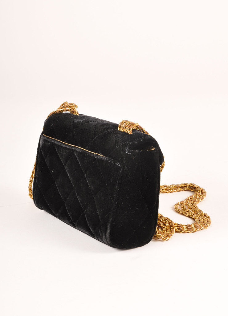 "Chanel Black and Gold Toned Quilted Velvet ""CC"" Turnlock Chain Strap Mini Flap Bag Sideview"