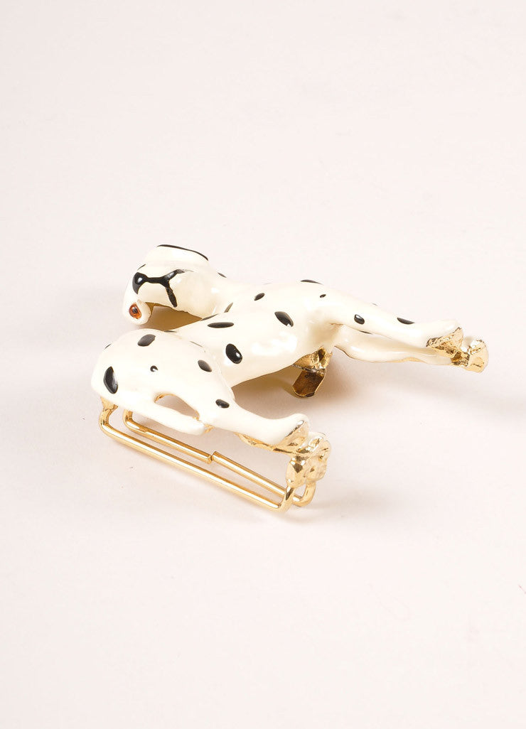 Mimi Di N Cream and Black Enameled Dalmatian Dog Belt Buckle Sideview