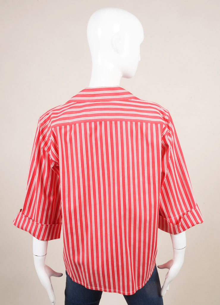Saint Laurent Red and White Twill Knit Pinstripe Button Up Shirt Backview