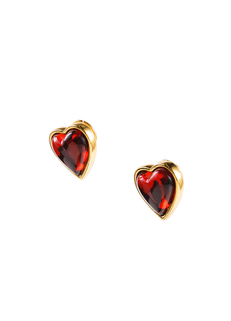 Yves Saint Laurent Gold Toned and Red Asymmetrical Heart Post Earrings Sideview