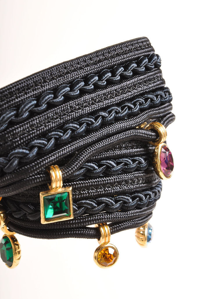 Yves Saint Laurent Black and Multicolor Curled Rope and Gem Bead Detail Belt Detail 2