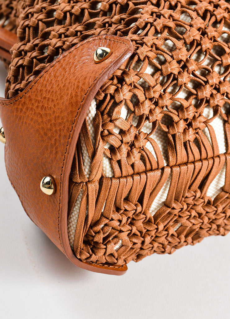 Valentino Brown Knotted Weave Leather Braided Strap Frame Bag Detail