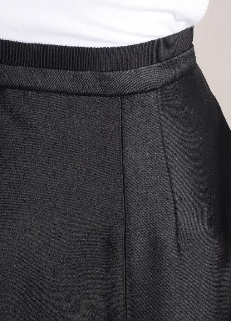 Valentino New With Tags Black Dot Stitch Wool and Silk Blend Pencil Skirt Detail