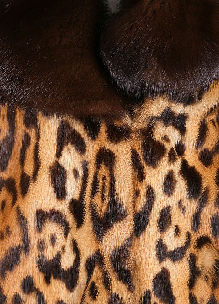 Valentino Tan and Brown Mink Trim Leopard Print Long Sleeve Coat Detail