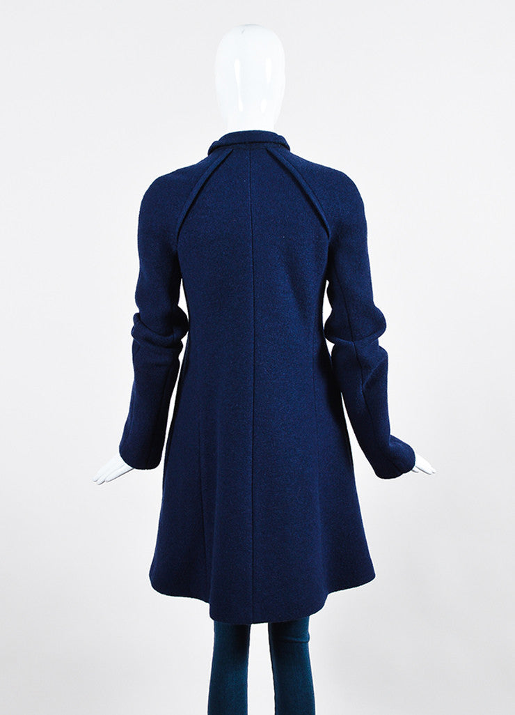Navy Blue Victoria Beckham Wool Double Breasted Coat Backview