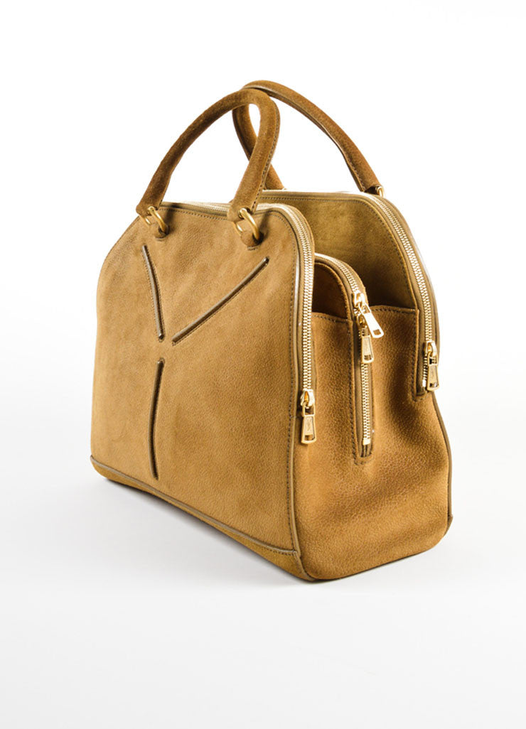 "Yves Saint Laurent Brown Pebbled Suede Leather ""Sac 32"" Tote Bag Sideview"